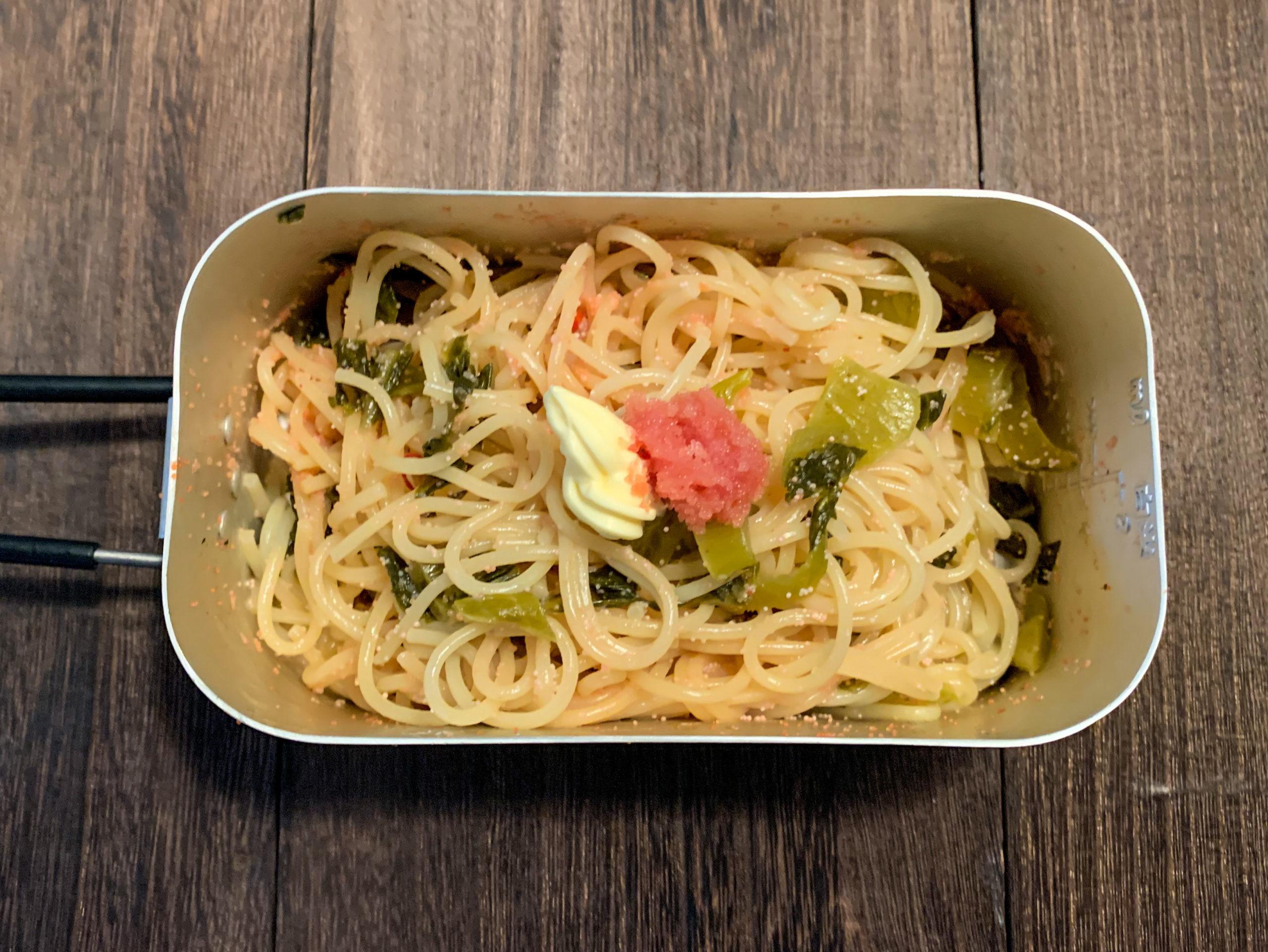 【水漬けパスタ】茹で汁出ません!メスティン1つで明太高菜スパゲティの作り方!